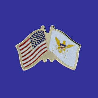 USA+US Virgin Islands Flag Lapel Pin-0