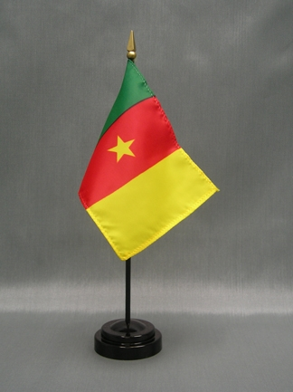 "Cameroon Flag-4"" x 6"" Desk Flag-0"